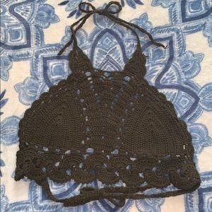 NWOT Crochet Macrame Boho Halter Crop Top